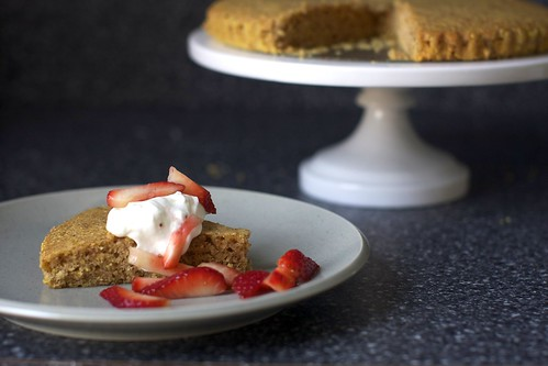 pecan cornmeal butter cake, berries