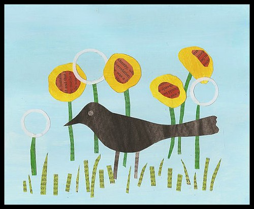 blackbird among dandelions
