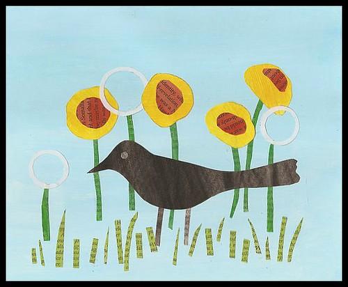 blackbird among dandelions