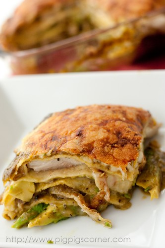 Stacked Green Chile & Grilled Chicken Enchilada 9
