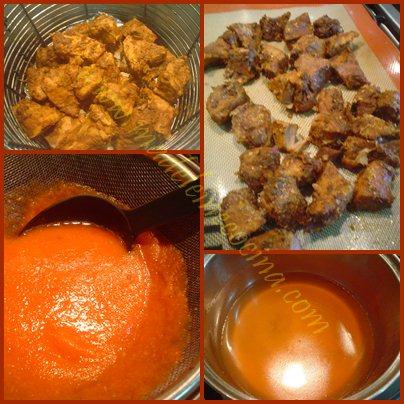 La carne lista y la salsa