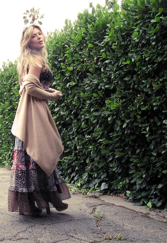 miu miu sandal clogs+ 70s dress-4dark