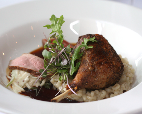 duck leg on barley risotto