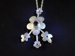 """Gems & Flowers"" Silver Necklace (EfratJewelry) Tags: silver handmade jewelry jewellery sterling gems tourmaline 925 gemstones silversmith metalsmith sterlingsilver    semipreciousstones       efratjewelry"