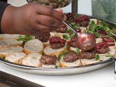 Lamb sliders with rhubarb-onion sauce