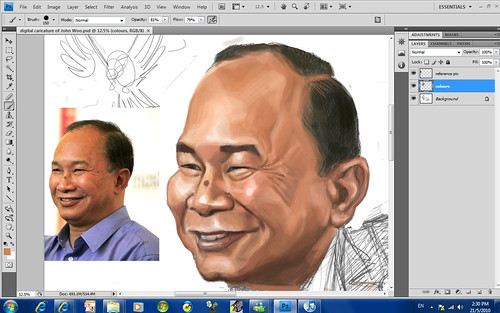 digital sketch of John Woo - 5