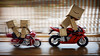 052/365:  Follow The Leader. (Randy Santa-Ana) Tags: red motion blur rain toys ride harleydavidson motorcycle danbo gf1 project365 danboard minidanboard minidanbo 365daysofdanbo hondacbr1000r