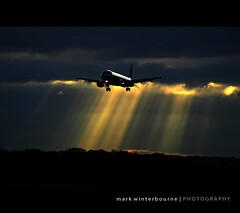 Last rays of light (Mark Winterbourne | No More Dead Pixels) Tags: sunset storm dark manchester moments mark magic landing monarch airbus rays airlines a320 egcc 2234 winterbourne a321231 gozbi 400a7f