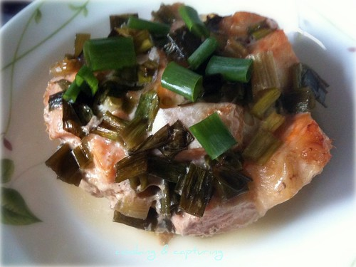 Baked Salmon with Green Onion