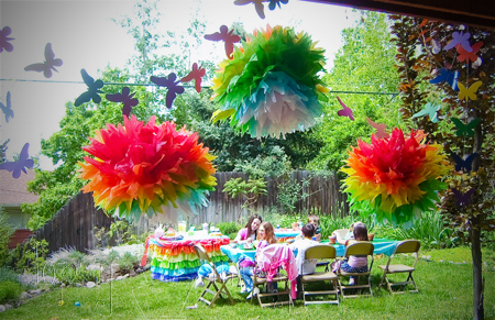 birthday party garland rainbow butterflies tissue pom poms
