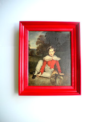 french boy (amye123) Tags: trees boy red portrait english wall vintage french countryside bright handmade cottage frame decor homedecor pictureframe reclaimed cherryred upcycle applered sirfgirlbybay amye123