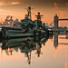 hms belfast at dawn by yellobagman