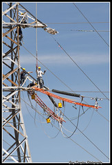 Position and Power (cyberdoug) Tags: tower workers power electricity job highvoltage highrisk transmissionlines