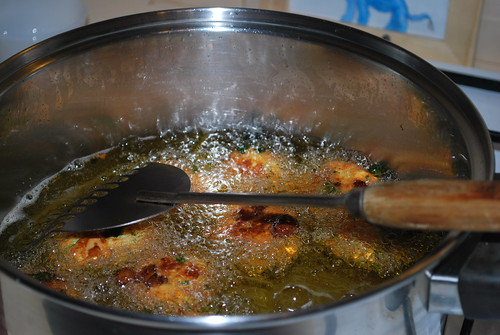 Deep frying Koftas