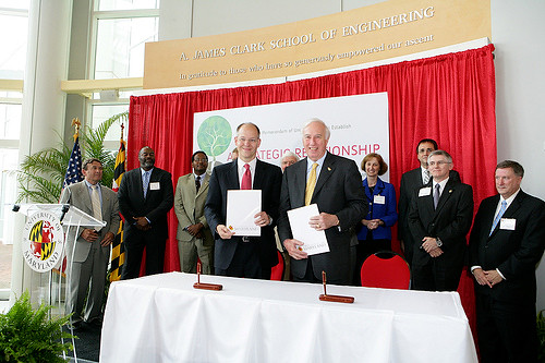 University of Maryland President Dr C D Mote Jr and Dr Ray O Johnson Senior Vice President and Chief Technology Officer of Lockheed Martin after signing the Memorandum of Understanding by University of Maryland Press Releases