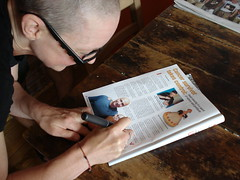 Andrea autographing Vahik's Courage magazine