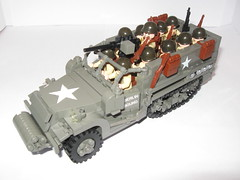 "M3 Halftrack with Armoured Infantry. (""Rumrunner"") Tags: infantry army lego wwii american ww2 division m3 armored 3rd worldwar2 halftrack allies brickarms"