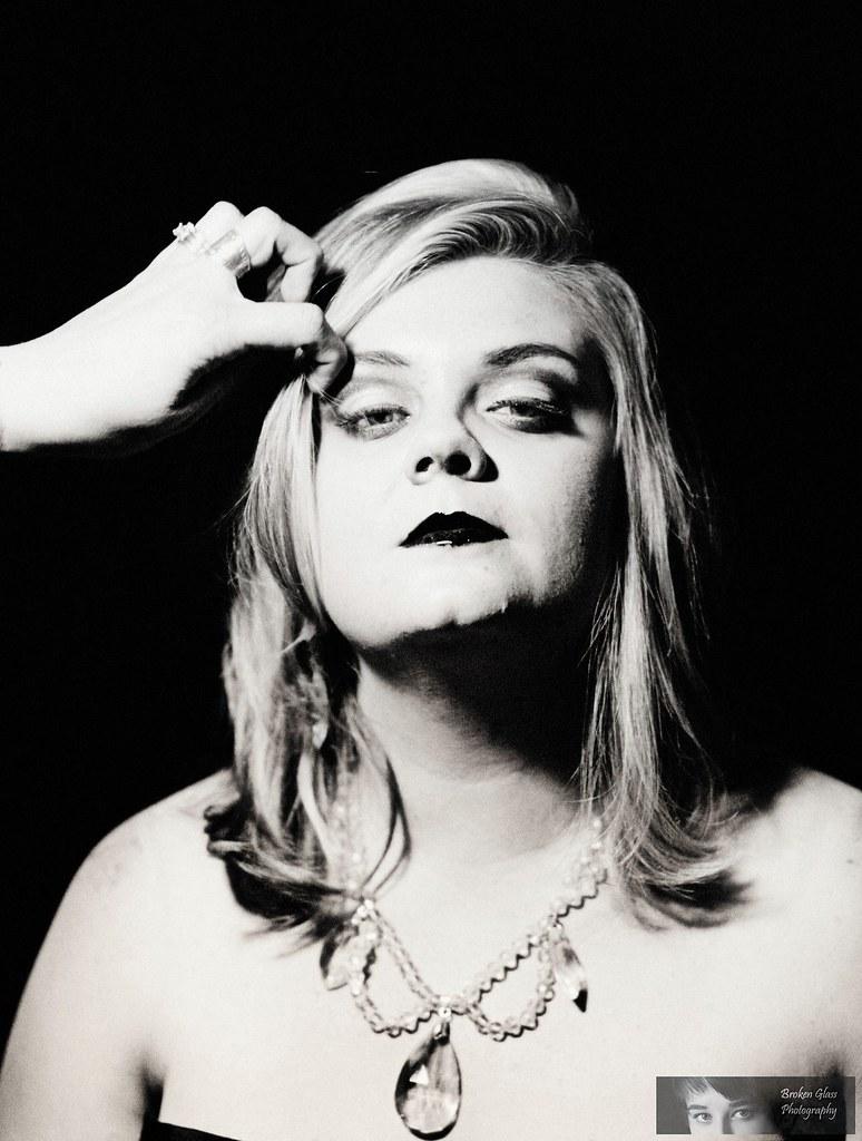 Madame Gem (brokenglassphotography) Tags: blackandwhite sexy tattoo vintage  model bbw pearls retro singer