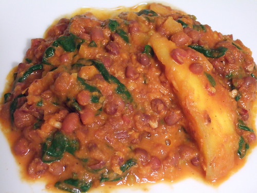 Curried Adzukis with Mango and Spinach