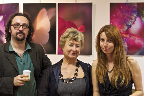 Left to right, Virgilio Patarini, Anna Maria Angelini and Valentina Carrera at the Anima Mundi exhibition opening in Milan.