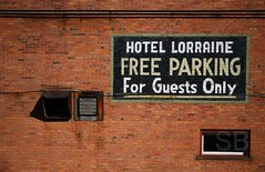 Hotel Lorraine parking info (Studiobaker) Tags: park trip family windows ohio red summer urban brick window june guests for drive hotel mural parking free roadtrip toledo only americana oh info summertime lorraine 2009 conduit vents studiobaker
