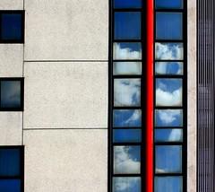 Il cielo degli altri (meghimeg) Tags: red reflection rot window clouds rojo nuvole explore bologna rosso riflesso 2011 finesta