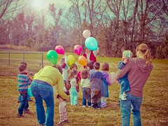 The world is as many times new as there are children in our lives.  ~Robert Brault (Party of Five 2014) Tags: balloons nikon colorful aqua skies sunflare lightroom nikond40 partyof5ive