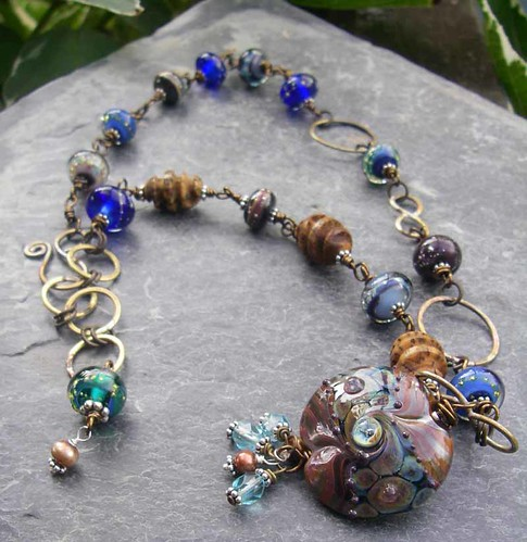 Asymmetric Brown and Blue Lampwork, Wood, and Brass Adjustable Length Necklace