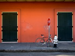 bike [new orleans] (xgray) Tags: street color bike bicycle wall digital hydrant lumix louisiana neworleans olympus panasonic sidewalk stopsign frenchquarter 20mm ep1 200mmf17