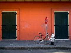 bike [new orleans] (xgray) Tags: street color bike bicycle wall digital hydrant lumix louisiana neworleans olympus panasonic sidewalk stopsign frenchquarter 20mm ep1 200mmf17