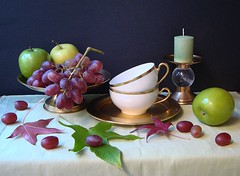 Autumn Notebook. (Esther Spektor - Thanks for 10+ millions views..) Tags: china lighting autumn stilllife black reflection green apple cup glass leaves bronze golden stand candle artistic decorative napkin plate dishes tablecloth candleholder grape porcelain everydaylife blueribbonwinner coth bej selectbestfaforites
