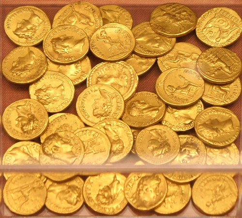 Bredgar Hoard, Kent, 37 gold aureii with the latest of Claudius 42AD. There's a clear but worn aureus of Julius Caesar and Aulus Hirtius, Cr475 in centre