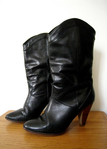 Black Leather Wood Stacked Ankle Boots, 1980's