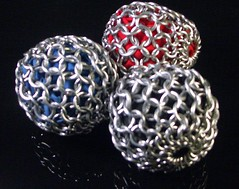 Chainmaille Juggleballs (barb'sdesigns) Tags: sports silver ball fun toys team aluminum mail balls medieval chain juggling guild accessory chainmaille chainmaillers