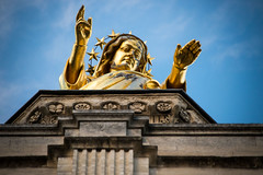 Overpowering Saint Mary at the Pope's Palace in Avignon, France (Phototravelography) Tags: avignon france popespalace provence saintmary gold hail oversize statue