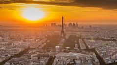 Paris (scarlet-pimp) Tags: montparnasse france sunlight landscape paris eiffeltower parisienne sky montparnassetower city cityscape architecture skyline goldenhour sunset fr