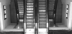 Escale à tort... (Elruner) Tags: noiretblanc blackandwhite escalator nice mecanisme escalier hauteur