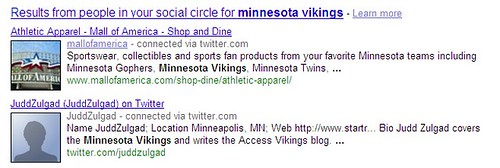 Google Social Search Screenshot - 121/10/09