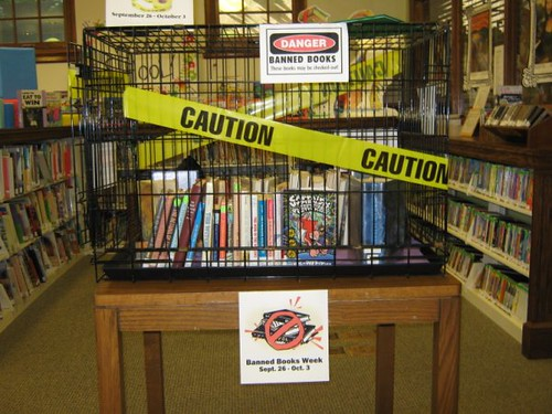 Large cage display for 2009 Banned Books Week