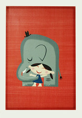 k&e (robolove3000) Tags: elephant cute girl hat illustration print children canvas