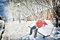 Me on a snowy park bench (jimmyroq) Tags: park christmas winter snow me bench vinter sweden stockholm sdermalm snowy jul sn hdr julafton parkbnk snig