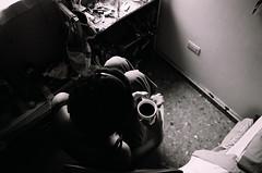 Habitat (Fernando Gallegos...) Tags: light bw woman blanco window girl ventana cafe bedroom negro diana starbucks silla cama pijama