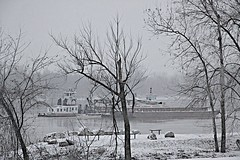WINTER (grekei) Tags: park trees snow cold river wind missouri barge frontier dredging