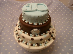 Eleanor's cake (The Cakehouse) Tags: birthday blue chocolate young cream spotty trendy 10th dots tiered thecakehouse
