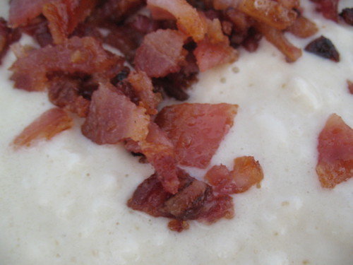 brown sugar bacon in buttermilk waffle mix