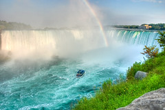 Racing For The Pot Of Gold (Keith Watson Photography) Tags: ontario rainbow waterfalls googleearth maidofthemist hdr horseshoefalls 93793499n00 niagaragfalls summervacation2009