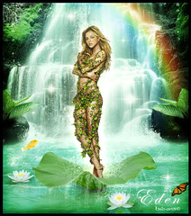 BLEND - fake _ Britney - Eden (balt-arts) Tags: wallpaper plant color fall nature arcoiris photoshop paradise fairy eden britney wather