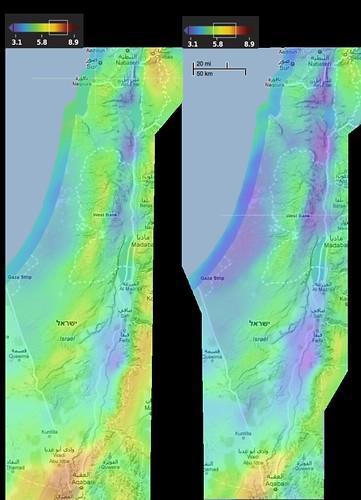 מפת ישראל, פוטנציאל רוח מוערך לפי אתר 3tier