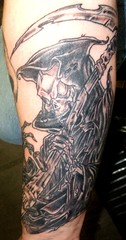 reaper (Billy Whaley Tattoo) Tags: white black tattoo angel ink skeleton death skull grey big scary arm grim reaper robe kentucky manly badass large evil indiana billy louisville asgard newalbany whaley