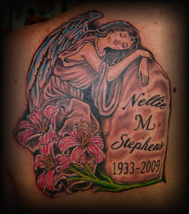 angel memorial (Billy Whaley Tattoo) Tags: new flower tattoo angel big cool wings memorial robe kentucky name badass praying tombstone large indiana lilly albany billy louisville lettering custom whaley